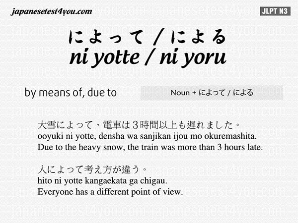 [JLPT N3 Grammar] によって / による (ni yotte / ni yoru)